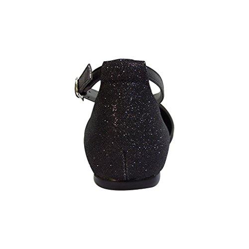 Fuzzy Fic Hallie Vrouwen Extra Breed Spitse Neus Enkelbandje Jurk Flats (grootte / Meetgids Beschikbaar) Zwart