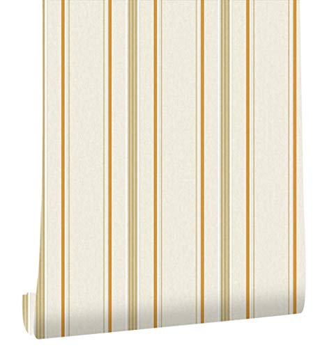HaokHome 20302 Modern Stripe Wallpaper Cream/Orange/Lt.Brown/White Textured for Bedroom Accent Wall 20.8