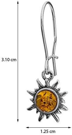 Bernstein Sterling Silber Sonne Schmuckset Ohrringe Anh/änger Kette 46 cm