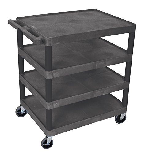LUXOR BC40-B Utility Cart, Four Flat Shelf, Black by Luxor