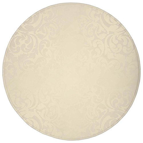 Flush Damask (Round Rug Mat Carpet,Ivory,Classic Victorian Style Monochrome Damask Background with Swirl Floral Effects Artsy Print,Cream,Flannel Microfiber Non-slip Soft Absorbent,for Kitchen Floor Bathroom)