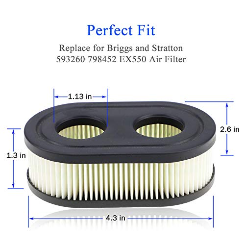 593260 798452 Air Filter - Air Filter Cartridge for Briggs & Stratton Cartridge, Toro, Husqvarna, Troy Bilt TB110 Walk-Behind Lawn Mower Tractor - 5 Pack