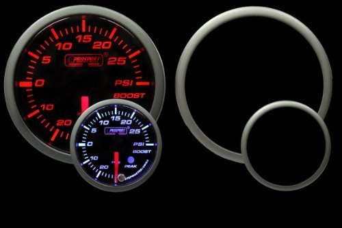 Boost Gauge- Electrical Amber/white Premium Series with Peak Recall and Warning 52mm (2 1/16) by Prosport Gauges Prosport Performance