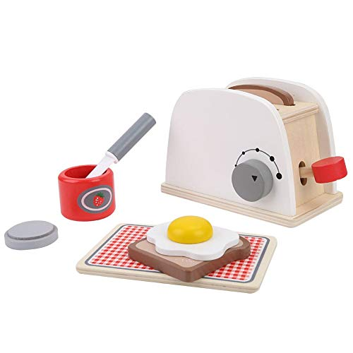 (Pretend Play Toaster Set, Children Wooden Pop-up Kitchen Toy Character Role Play Indoor Early Cognition Play Game with Accessories Kids Christmas Birthday Gift for Over 3 Years Old Toddlers)