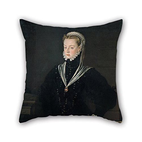 Artistdecor Pillowcase Of Oil Painting Alonso Sánchez Coello - Portrait Of Juana Of Austria, Princess Of Portugal,for Wife,valentine,bedding,family,valentine,bench 20 X 20 Inches / 50 By 50 (Plum Blossom Princess Costume)