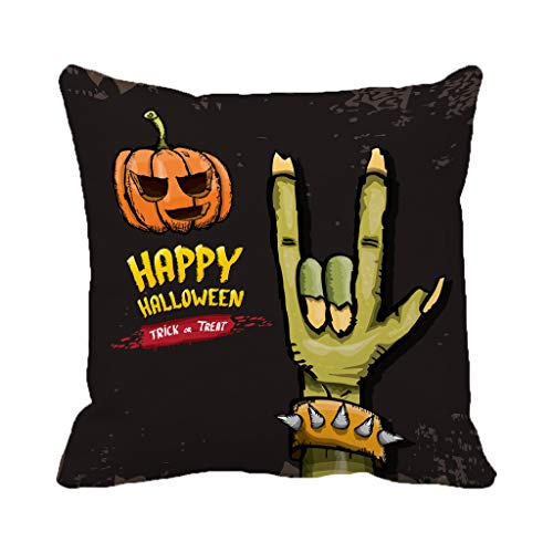 Spider Web Border Roll - Batmerry Halloween/Thanksgiving Theme Decorative Pillow Covers 18 x 18 inch,Happy Halloween Greeting Zombie Rock Roll Frame Art Artistic Badge Throw Pillows Covers Sofa Cushion Cover Pillowcase