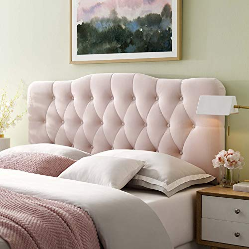 Modway Annabel Twin Diamond Tufted Performance Velvet Headboard, Bed, Pink (Headboard Tufted Pink Twin)