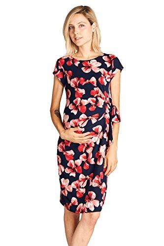 LaClef Womens Adjustable Side Tie Knee Length Printed Short Sleeve Maternity Dress