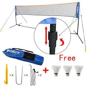 Federballnetz, Badmintonnetz, Minibadmintonnetz,Tennisnetz mit Gestell/ Gestänge,mit 3 Federball als Gratis SFN (4 Meter)