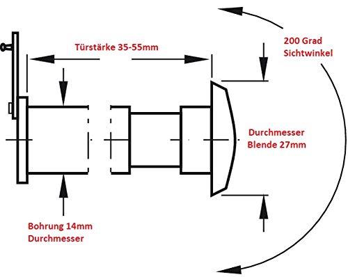 200/° Weitwinkel /Ø 14 mm f/ür T/ürst/ärke 35 bis 55mm BKS T/ürspion AS-14 mit Echtglas und Sichtschutz Messing matt vernickelt