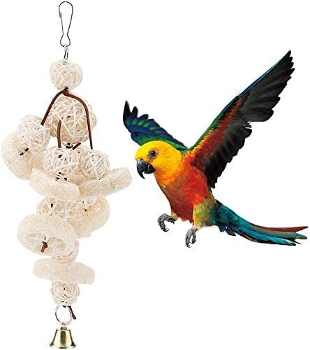 TOPINCN Juguete de loro de lufa para loro, bola de ratán para pájaros, escalera de escalada, juguete para colgar de pie, columpio para loros y pájaros: Amazon.es: Hogar