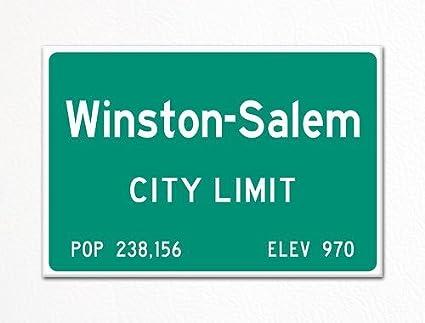 Winston-Salem City Limit Sign Souvenir Fridge Magnet