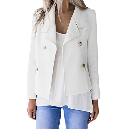 JOFOW Cropped Jacket Coat Womens Tunic Slim Solid Lapel Double Breasted Casual Short Suit Cardigans Autumn (XL,White)