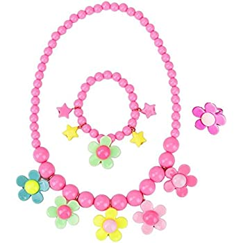 Kids Necklace Jewelry - Set For Little Girls, Toddlers, Children - Colorful Floral Stretch Play Necklace And Bracelet And Ring by LASLU