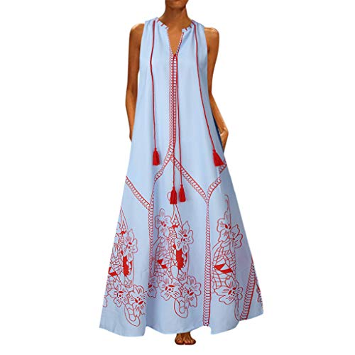 【MOHOLL】 Women Sleeveless Deep V Neck Loose Long Maxi Casual Dress Vintage Butterfly Printed Summer ()