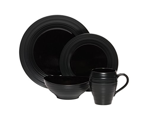 (Mikasa Swirl 4 Piece Place Setting, Black)