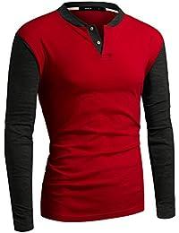Men's Henley Shirt Casual Long Sleeve Two Tone Shirt