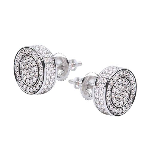 (Mens 14K Gold Plated 925 Sterling Silver CZ Stud Earring Round Cubic Zirconia Hypoallergenic Set Hip Hop Jewelry)