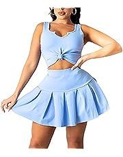 2 Piece Outfits for Women Tennis Skater Golf Skirt Sets Sleeveless Tank Crop top and Tennis Pleated Short Skirt