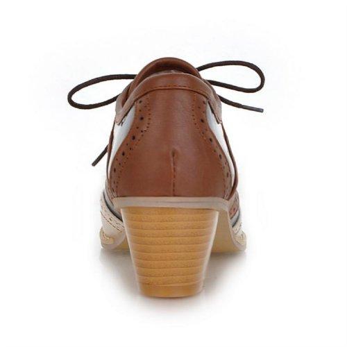Charme Voet Vintage Dames Lage Hak Veterschoenen Oxfords Schoenen Casual Lederen Schoenen Bruin