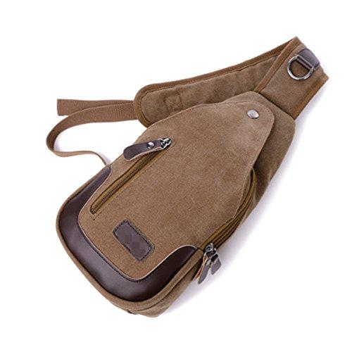 Unisex Multipropósito Deporte De La Manera Concisa Pack Casual Pecho Crossbody Crossover Bolsas De Cuero Bolso Multicolor Brown