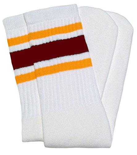 SKATERSOCKS Skater Socks25 Knee high White Tube Socks with Gold-Maroon Stripes Style 3