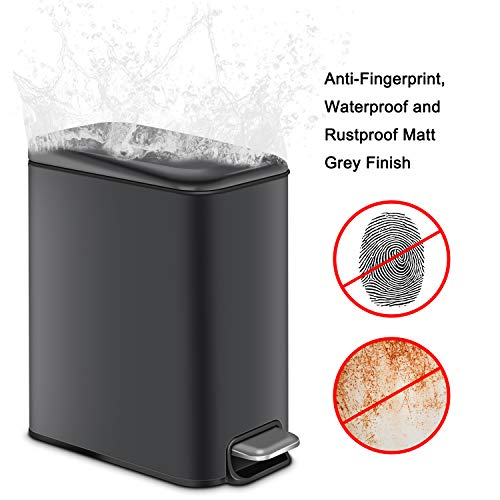 H+LUX Rectangular Bathroom Trash Can with Lid Soft Close, Small Trash Can with Removable Inner Wastebasket, Anti-Fingerprint Matt Finish, 5L/1.3Gal, Gray
