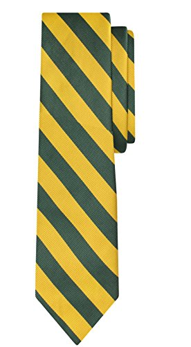Jacob Alexander Stripe Print Boys Regular College Striped Tie - Green Gold