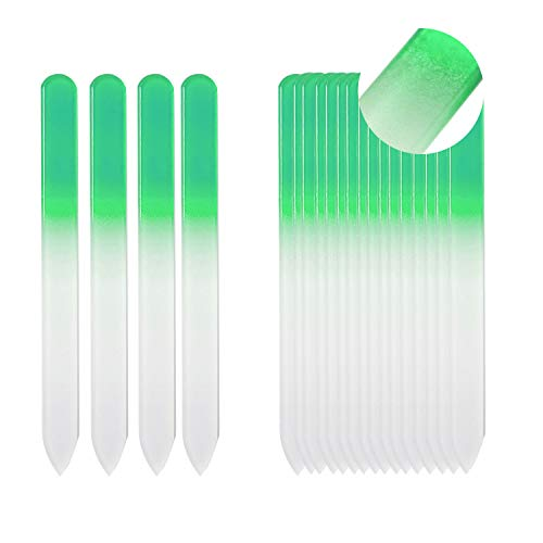SIUSIO Set of 20 Professional Crystal Glass Nail Files Buffer Manicure Gradient Rainbow Color for Nail polishing - Best for Fingernail & Toenail Care (green) ()