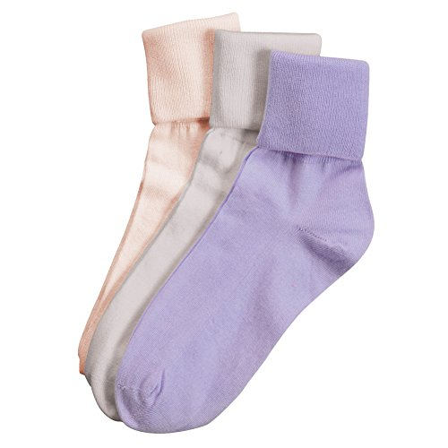 Buster Brown Women's 100% Cotton Socks - 3 Pair Package Fold Over Asst. Colors - M