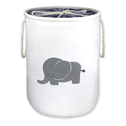 Laundry Basket,Elephant Basket Nursery,OD16''x H20 Storage Basket,Washing Basket,Decorative Jumbo Barrel Cotton Organizer Container/Toy Bin/Laundry Hamper,Collapsible &Dual Handles(X-Large with cover) by Zebrum