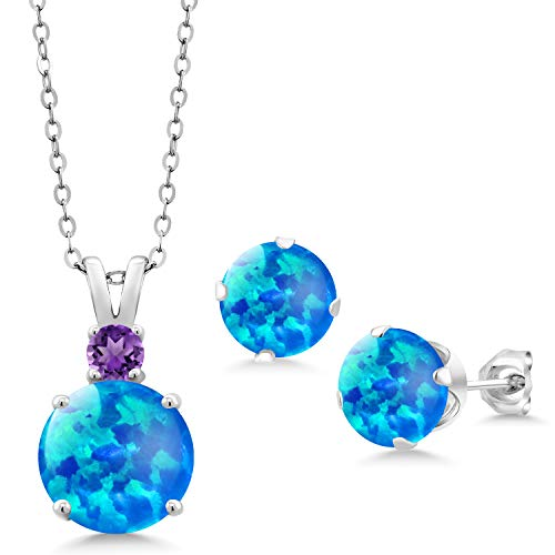 Style Amethyst Cabochon Earrings - 1.81 Ct Round Cabochon Blue Simulated Opal 925 Silver Pendant Earrings Set
