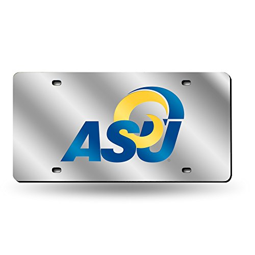 Rico Industries NCAA Angelo State Rams Laser Inlaid Metal License Plate Tag, Silver