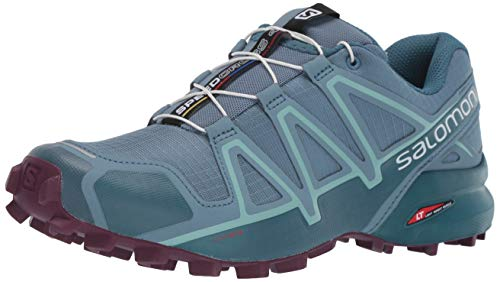 Salomon Women's Speedcross 4 W Trail Running Shoe, Bluestone/Mallard Blue/Dark Purple, 8.5 M -