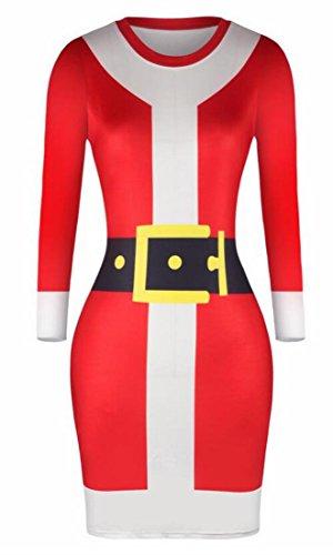 Print Christmas Xmas 1 Dress Party Jaycargogo Mini Women Dresses Bodycon FqwwXI