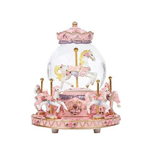 Cherry-Lee Carousel Music Box, Children Girls Romantic Luminous Music Box with Crystal Ball Colorful Home Decoration Carousel Decoration (Mini)