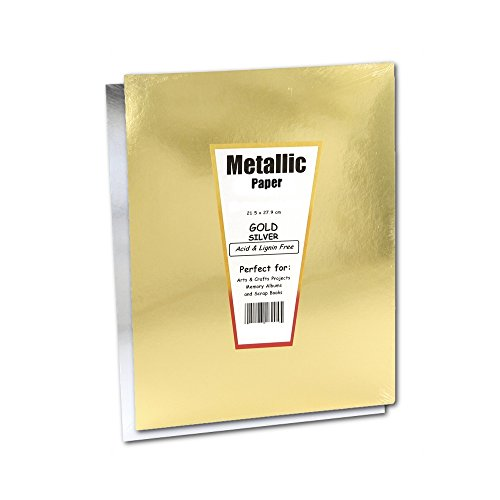 Hygloss Products Metallic Foil Paper Sheets – 10 x 13 Inch, 10 Sheets – Gold and (Silver Origami)