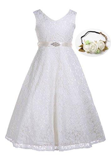 Bow Dream Lovely Lace V-Neck Flower Girl Dress Ivory Cream 7 -