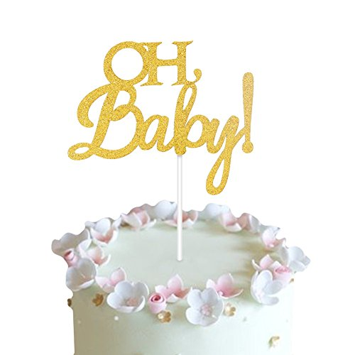 Price comparison product image Oh Baby Cake Topper Gold Double Sided for Baby Shower Birthday Supplies Gender Reveal Party Decorations