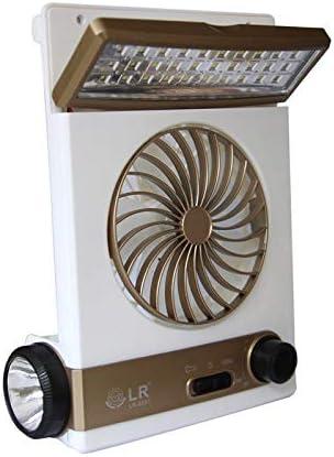 Ventilador Solar para Camping portátil Ventilador para el Cuidado del Ojo Lámpara de Mesa LED 3 en 1 Multifuncional con Linterna Enchufe Adaptador para Panel Solar para Acampar en casa,Gold: Amazon.es: Hogar