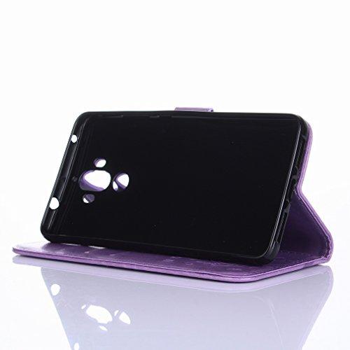 Yiizy Huawei Mate 9 Custodia Cover, Erba Fiore Design Sottile Flip Portafoglio PU Pelle Cuoio Copertura Shell Case Slot Schede Cavalletto Stile Libro Bumper Protettivo Borsa (Chiaro Porpora)