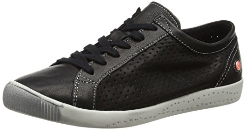 Softinos Womens ICA Black Smooth Leather Sneaker - 41