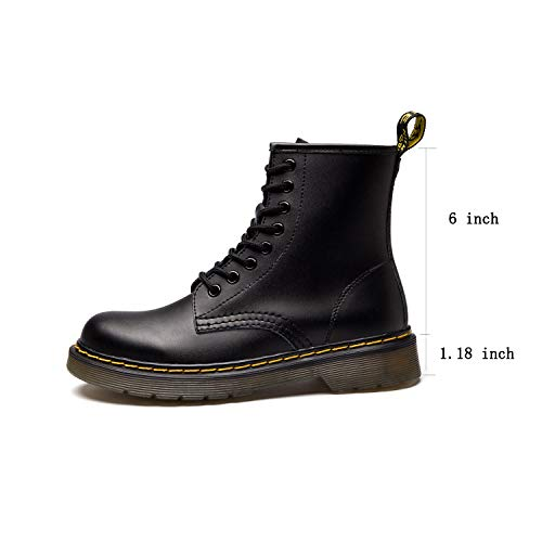 Koask Women's Round Toe Lase-up Ankle Boots Ladies Leather Combat Booties Fashion Martens Boots - stylishcombatboots.com