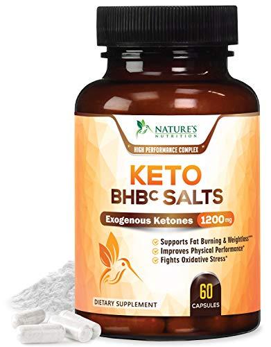 Keto BHBc Salts Exogenous Ketones 1200mg Highest Potency - BHB Salts Supplement Pills for Ketogenic Diet - Ketosis, Energy & Fat Burner. Beta-Hydroxybutyrate Magnesium, Calcium, Sodium - 60 Capsules