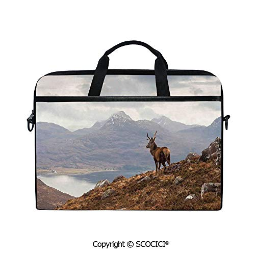 Printed Waterproof Laptop Shoulder Messenger Bag Case Wild Stag Overlooking Loch Torridon and Dramatic Western Ross Mountain Nature View for 15 Inch Laptop Notebook