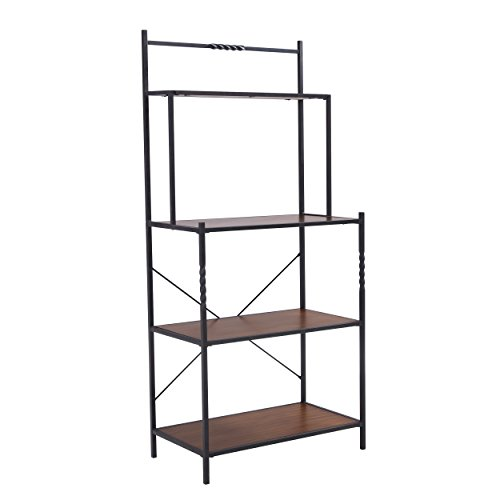 Furniture HotSpot – Bakers Rack– Distressed Pine w/ Rustic Brown Frame – 30.75