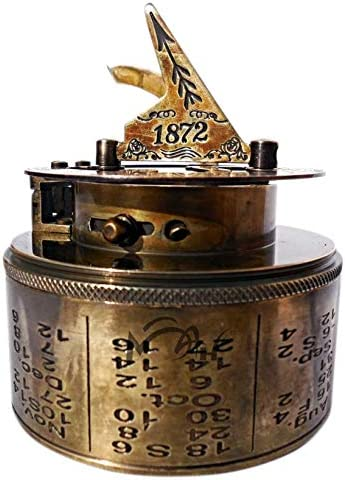 MAH Maritime Antiques Nautical Reproduction Brass Box Sundial Compass -Drum Sundial with Stamp Leather Box. C-3020