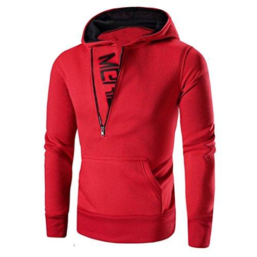 Mnyycxen Men's Casual Zipper Hooded Coat Outwear Long Sleeve Hoodie Tops Sweater T-Shirts (M, Red)