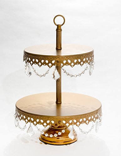 Opulent Treasures Two Tiered Chandelier Cake Plate, Dessert Stand Round Metal Crystal Dangles Cupcake Wedding Birthday Party Centerpiece (Antique Gold) ()