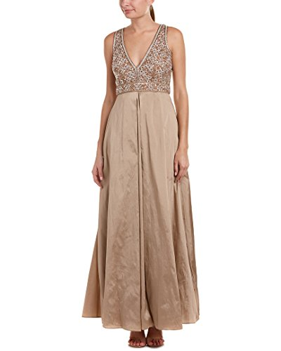 Bronze Evening Aidan Mattox Dress Embroidered Embellished Womens HH4qUY